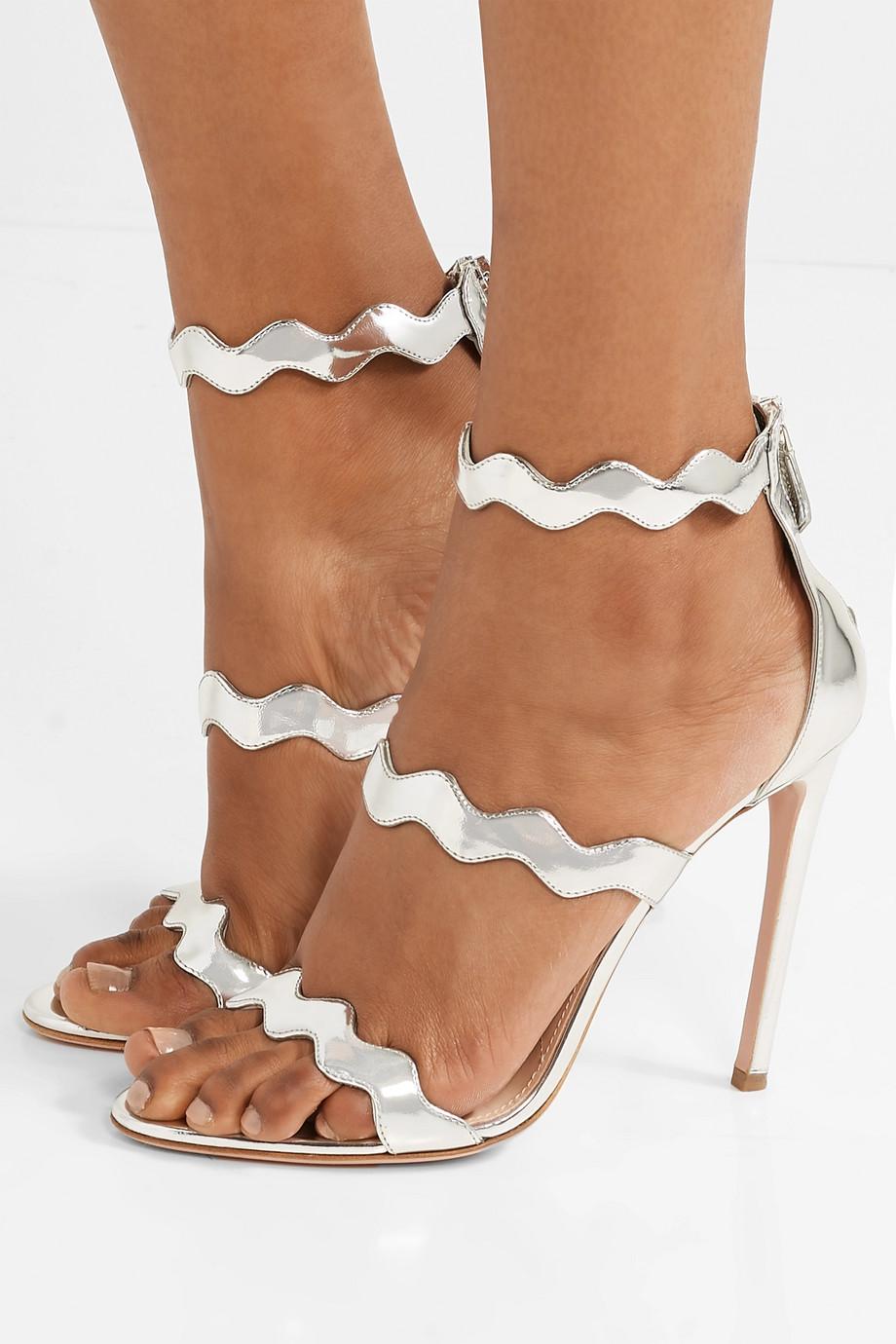 Prada 115 scalloped metallic leather sandals