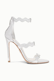 115 scalloped metallic leather sandals