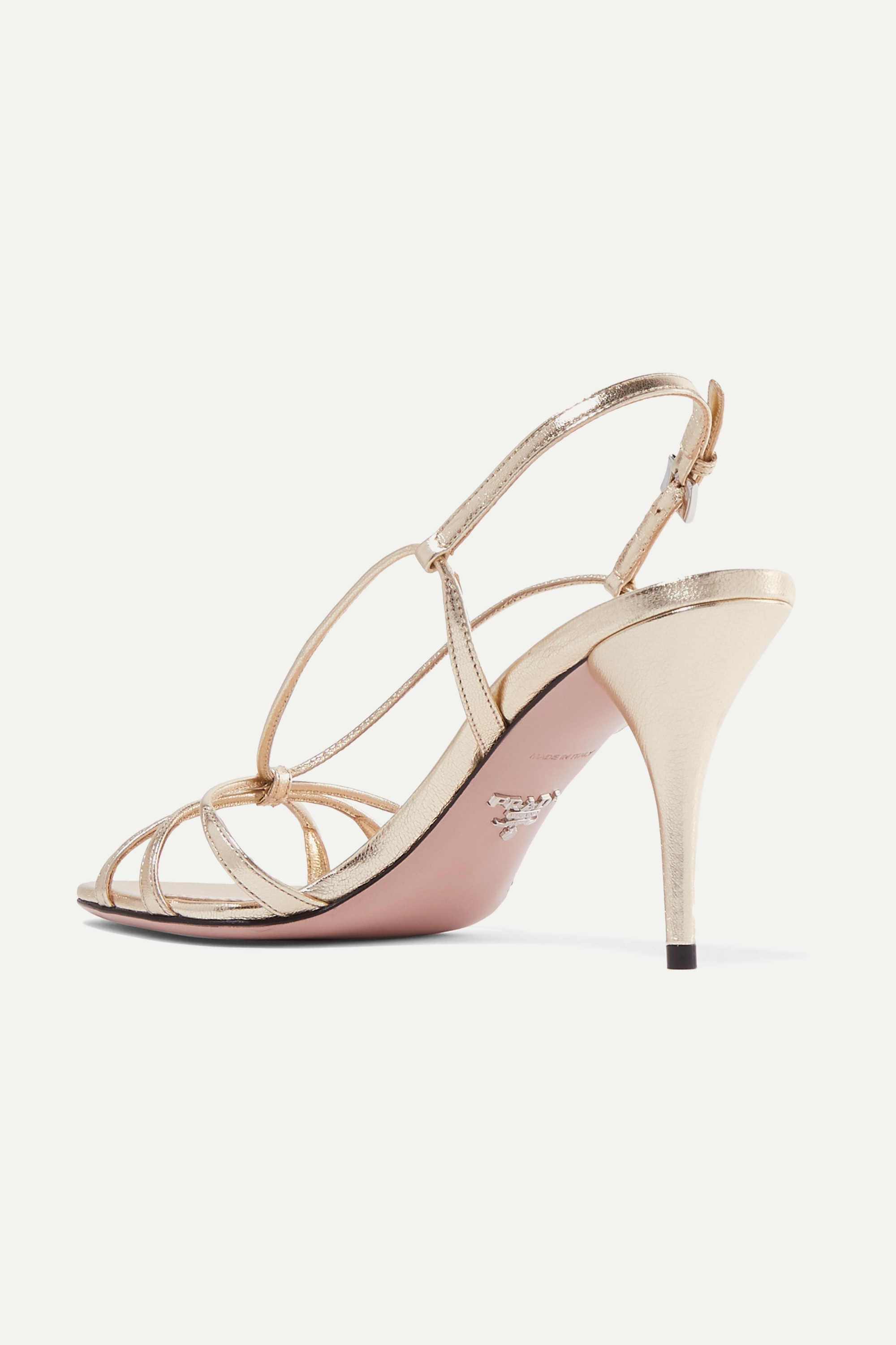 Prada 85 metallic leather sandals