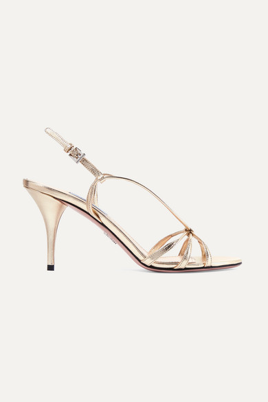 85 Metallic Leather Sandals in Gold