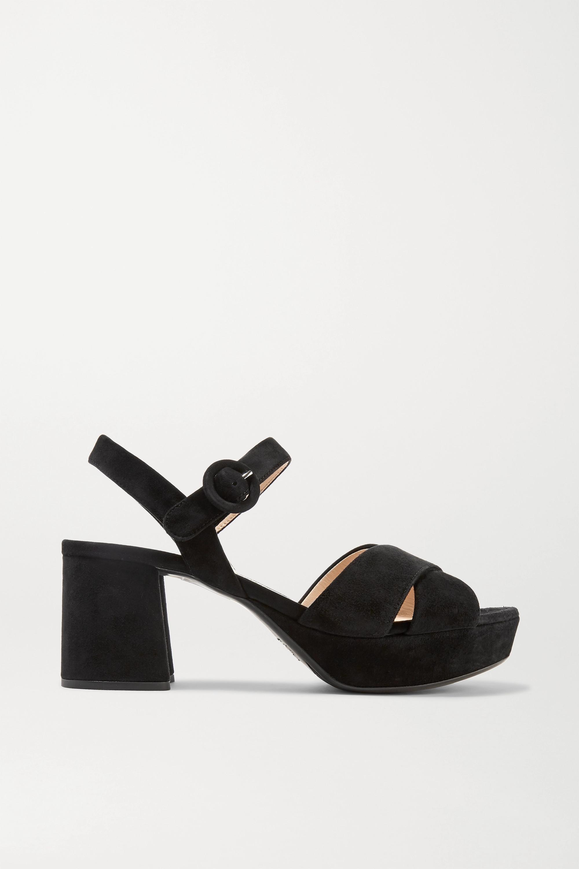 Black Suede platform sandals | Prada