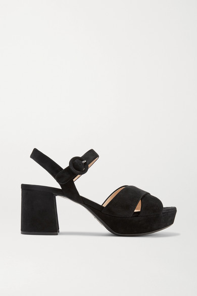 Suede Crisscross Ankle-Wrap 65Mm Sandals in Black