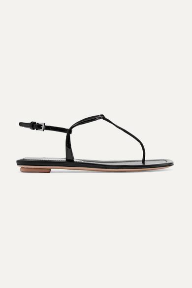 PRADA | Prada - Patent-leather Sandals - Black | Goxip