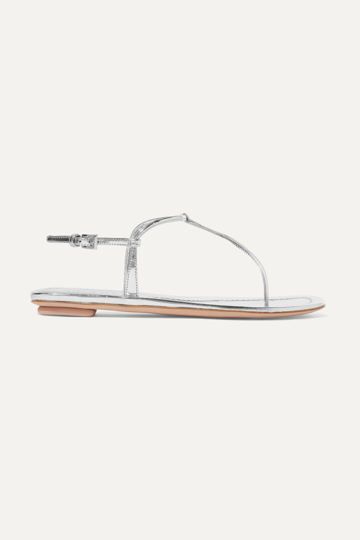 Silver Metallic leather sandals   Prada