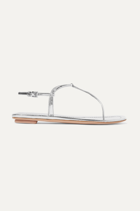 Silver Metallic leather sandals  | Prada oUHf4X