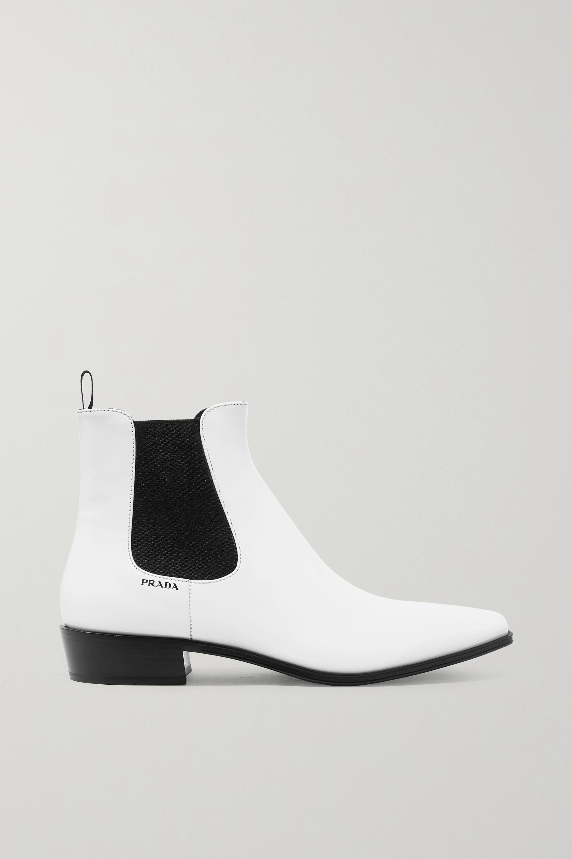 White Leather Chelsea boots | Prada