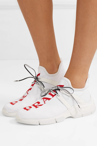 Prada Sneakers Leather-trimmed logo-intarsia stretch-knit sneakers