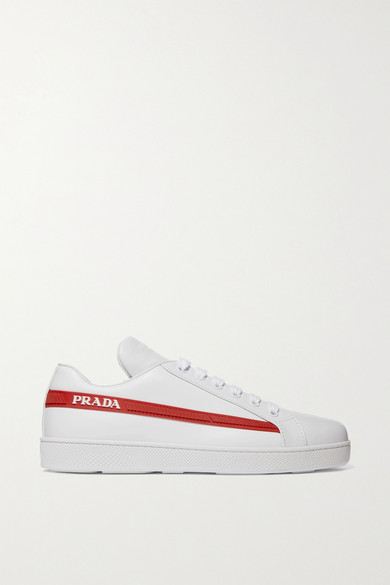 Avenue Last Logo-Embellished Leather Sneakers in White