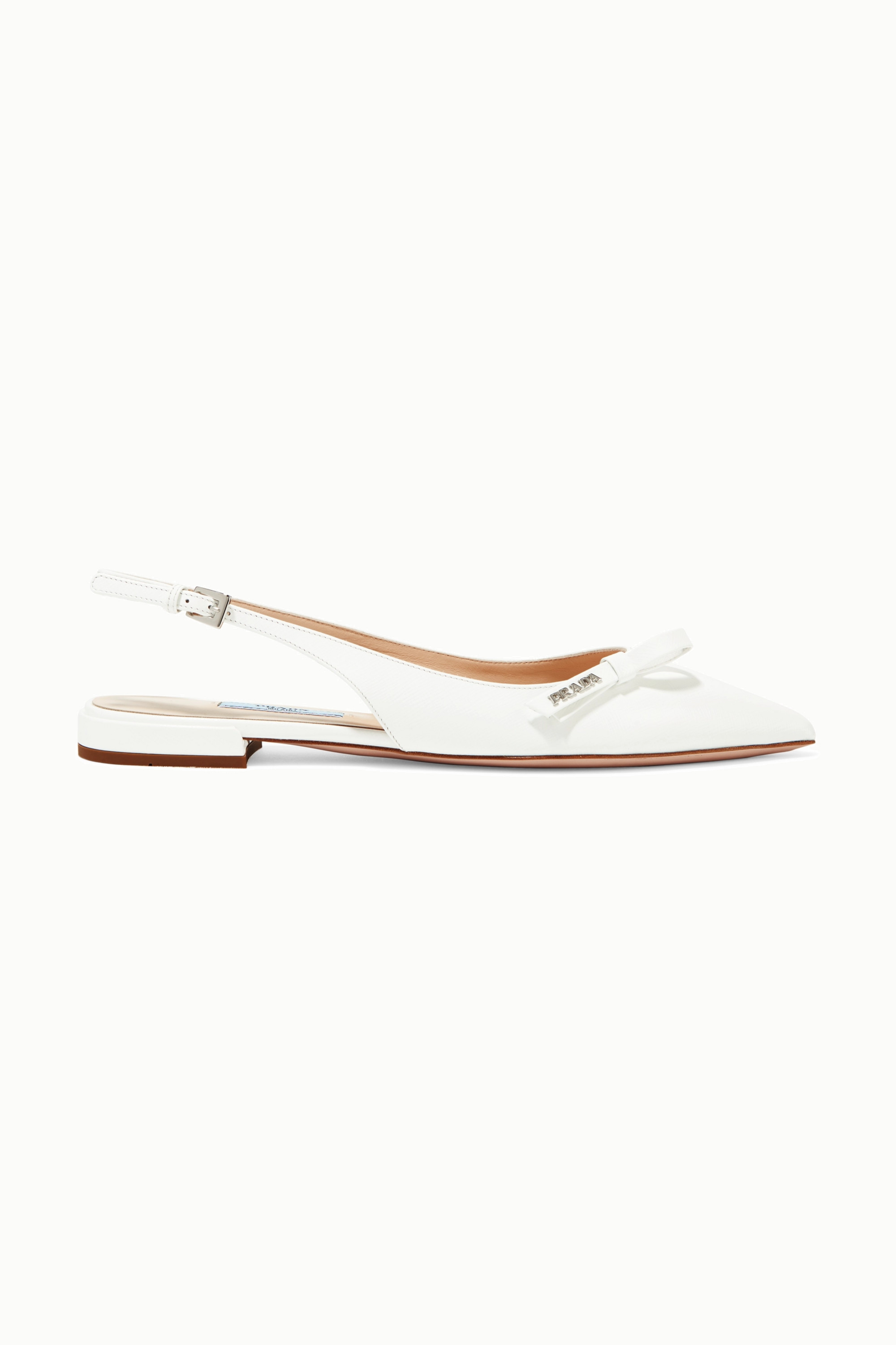 White Textured-leather slingback flats