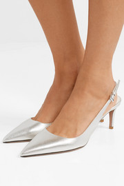65 metallic textured-leather slingback pumps