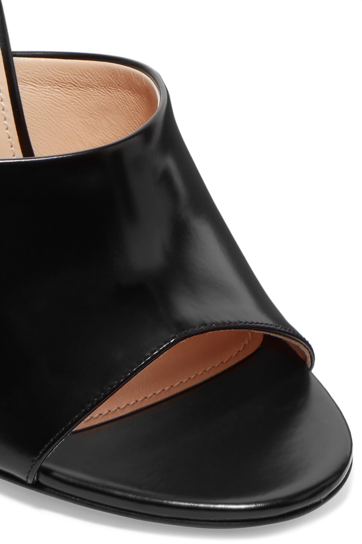 Prada 105 glossed-leather mules