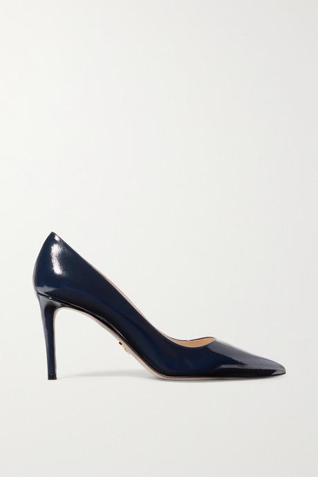 Midnight blue 85 glossed textured-leather pumps   Prada HOQyPB