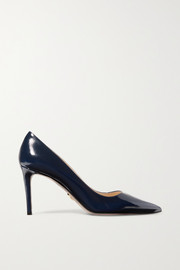 Prada Glossed textured-leather pumps