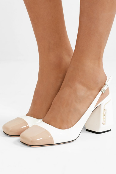 a3103d9db Prada | 85 two-tone smooth and patent-leather slingback pumps | NET ...