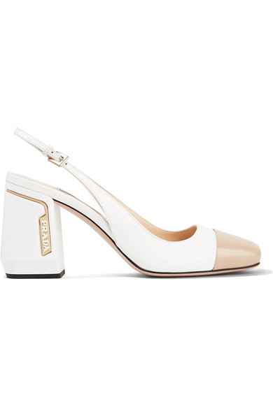 Prada Pumps 85 two-tone smooth and patent-leather slingback pumps