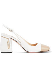 Two-tone smooth and patent-leather slingback pumps