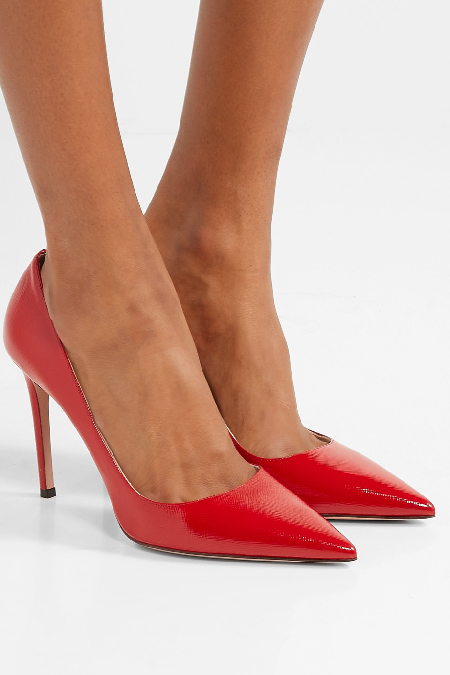 Prada 100 glossed textured-leather pumps