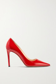 100 glossed textured-leather pumps