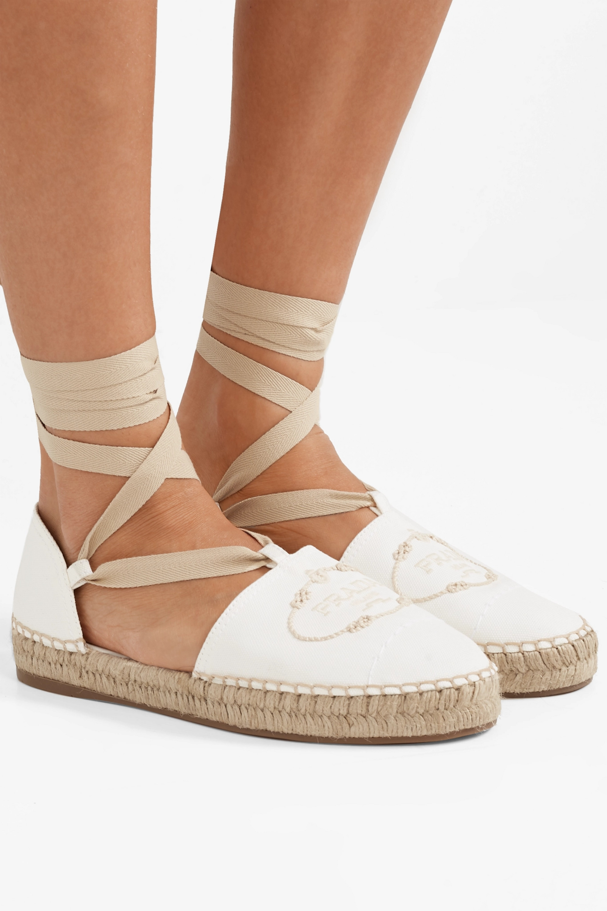 White Embroidered canvas espadrilles