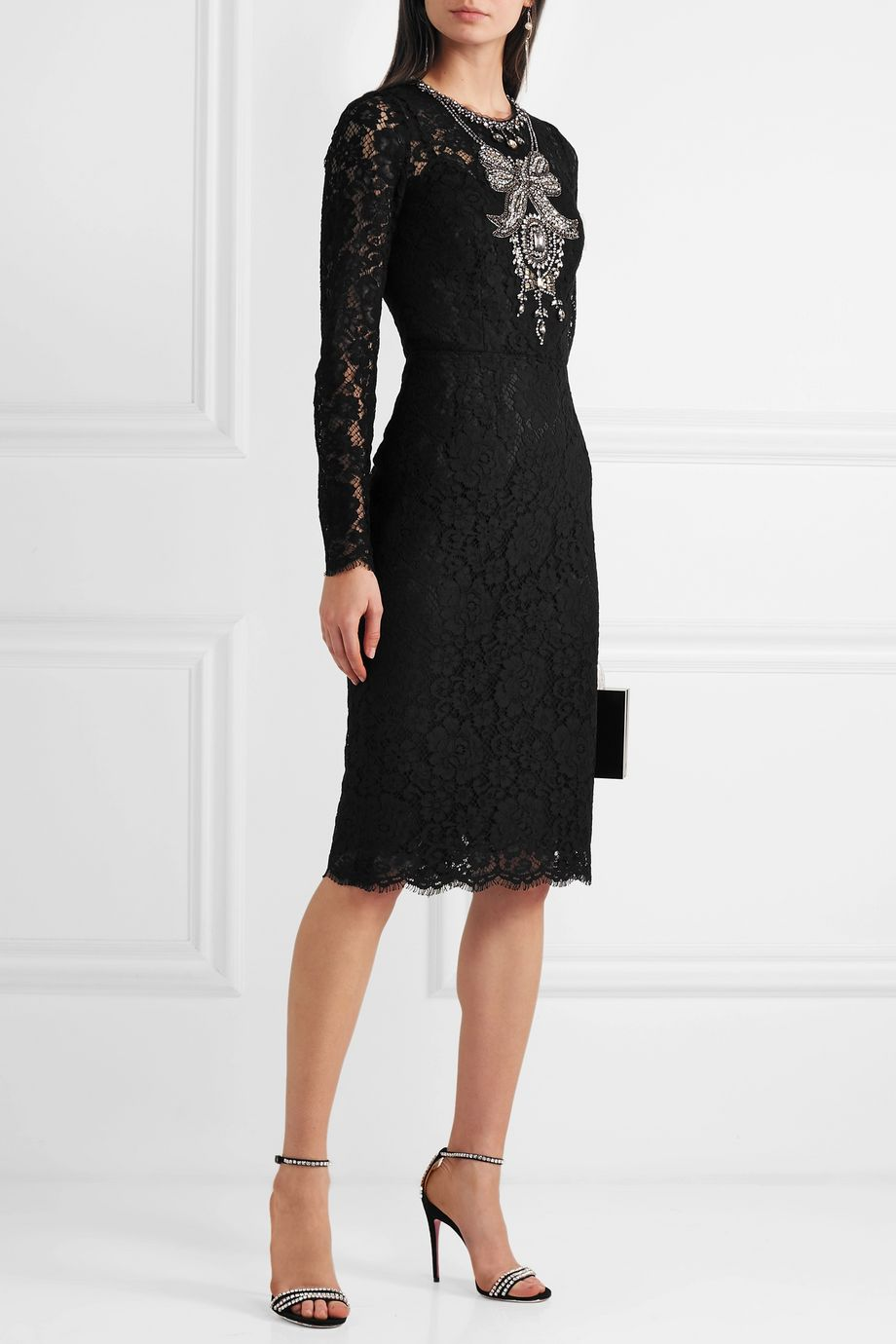 Dolce & Gabbana Crystal-embellished corded lace and tulle dress