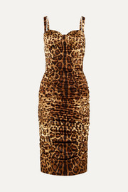 Dolce & Gabbana Ruched leopard-print stretch-silk satin midi dress