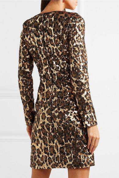21f25370b0 Leopard-print sequinned crepe mini dress.  2