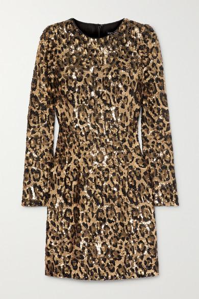 38568d93d7 Dolce   Gabbana. Leopard-print sequinned crepe mini dress