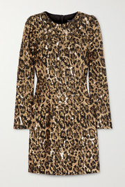 Dolce & Gabbana Leopard-print sequinned crepe mini dress