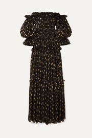 Dolce & Gabbana Off-the-shoulder polka-dot metallic fil-coupé silk-blend chiffon gown