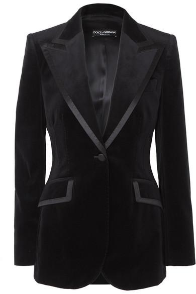 DOLCE & GABBANA | Dolce & Gabbana - Satin-trimmed Cotton-blend Velvet Blazer - Black | Goxip