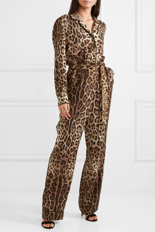 Dolce & Gabbana Leopard-print silk-twill jumpsuit