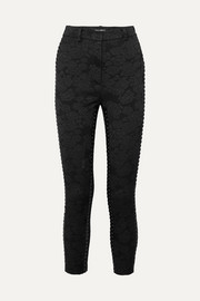 Cropped lace-up floral-jacquard skinny pants