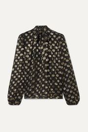 Dolce & Gabbana Polka-dot metallic fil coupé silk-blend chiffon blouse