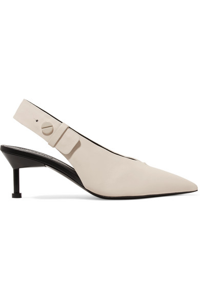 Kinslee Textured Leather Slingback Pumps by Mercedes Castillo