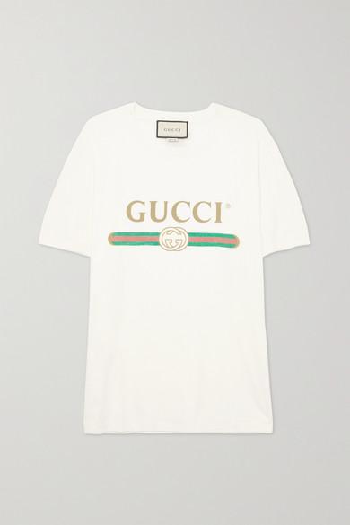 Gucci - 贴花仿旧印花纯棉平纹布 T 恤 - 象牙色 - large