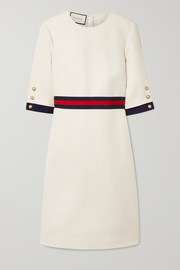 Gucci Grosgrain-trimmed wool and silk-blend cady dress