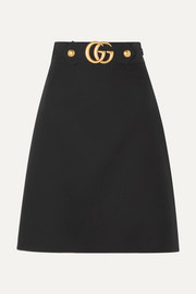 Gucci Embellished wool and silk-blend crepe skirt