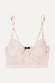 Envy embroidered stretch-satin and tulle underwired soft-cup bra