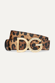 Reversible leopard-print textured-leather belt