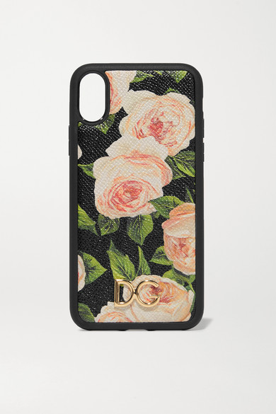 quite nice 354a4 0f881 Floral-print textured-leather iPhone X case