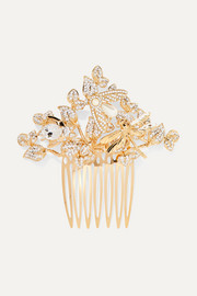 Gold-tone, crystal and faux pearl hair slide