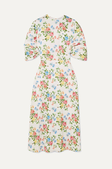 EMILIA WICKSTEAD Floral-Print Crepe Midi Dress in Pink