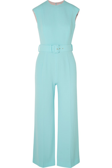 EMILIA WICKSTEAD Barbara Belted Cloqué Jumpsuit in Turquoise