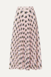 Pleated floral-print crepe de chine skirt