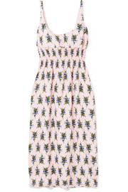 Emilia Wickstead Shirred floral-print crepe midi dress