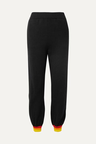 Striped Cotton-Blend Drop-Rise Pants - Black Size L