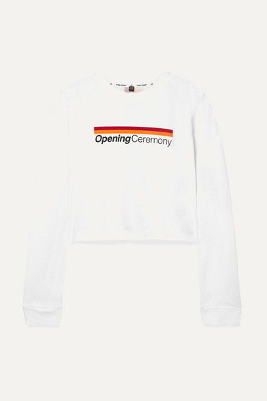 Long-Sleeve Graphic Logo Cropped Tee in White
