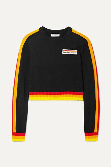Striped Cotton-Blend Crop Sweater - Black Size S