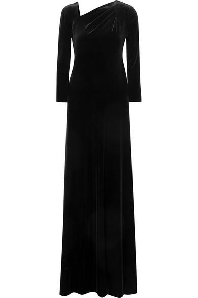 GIORGIO ARMANI Velvet Asymmetric-Neck Long-Sleeve Gown in Black
