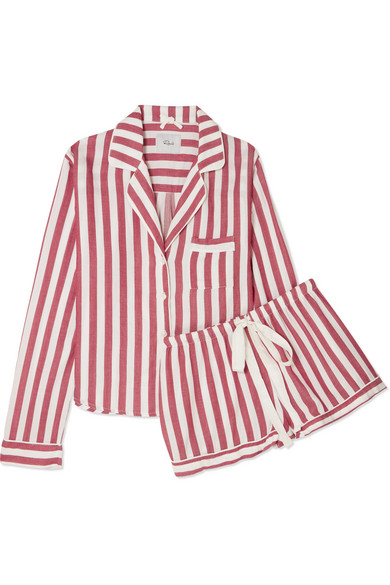 RAILS Two-Piece Striped Pajama Top And Shorts Set in Brick
